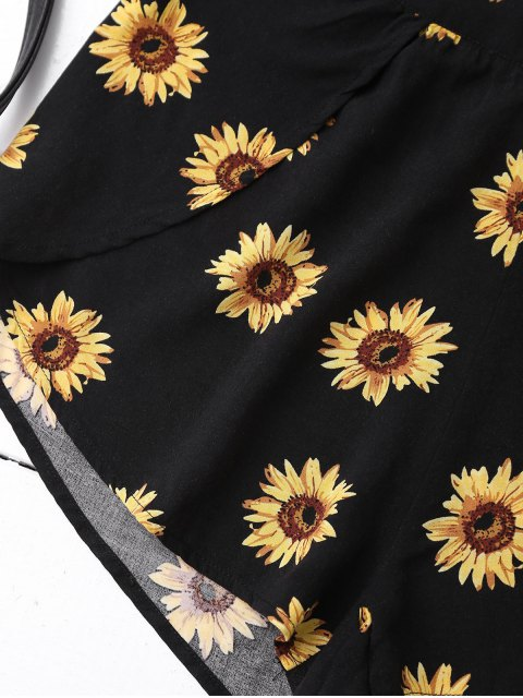 online Off Shoulder Crop Top and Sunflower Shorts - BLACK S Mobile