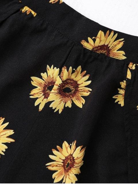 new Off Shoulder Crop Top and Sunflower Shorts - BLACK M Mobile