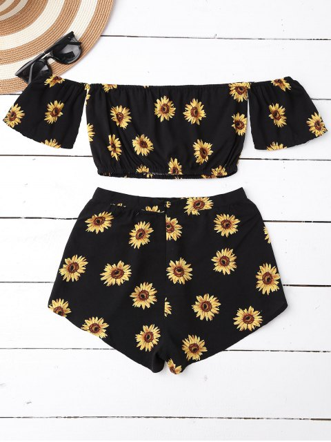 hot Off Shoulder Crop Top and Sunflower Shorts - BLACK L Mobile
