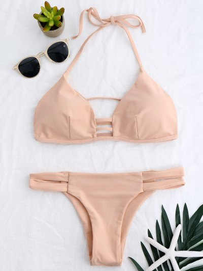 Banded Ladder Cut Out Bathing Suit - Pinkbeige