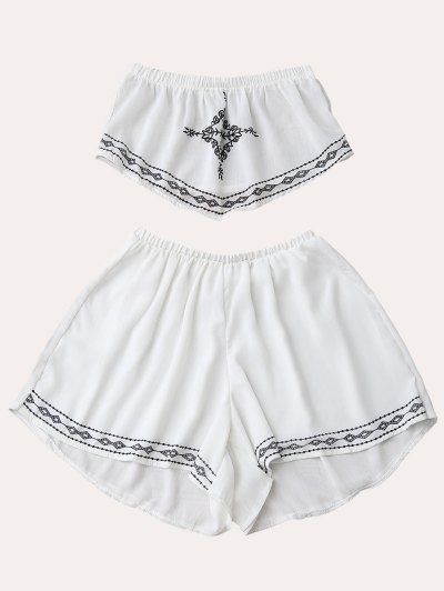 Print Chiffon Tube Top And Shorts - White