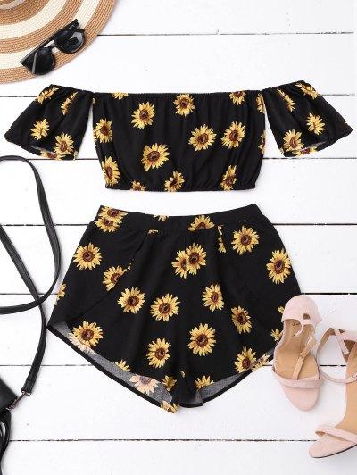 Off Shoulder Crop Top And Sunflower Shorts - Black
