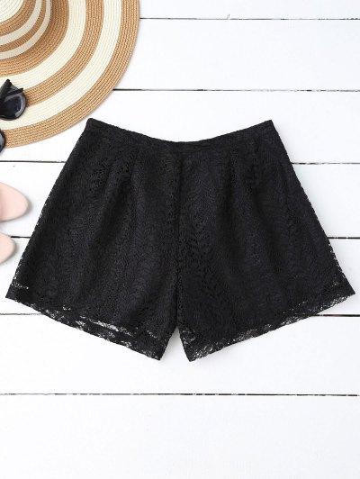 Pantalones Cortos De Encaje En Capas - Negro