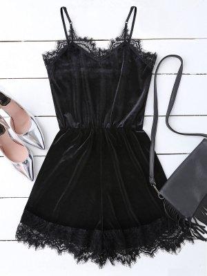 Slip Lace Hem Velvet Romper - Black