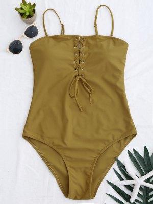 High Cut Lace Up Swimwear - Ginger