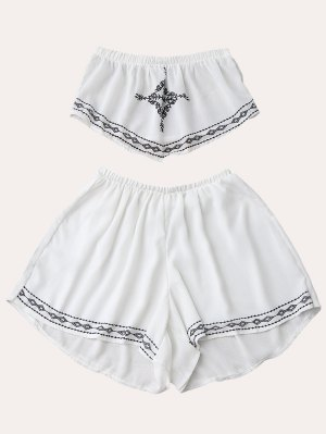 Print Chiffon Tube Top And Shorts - White