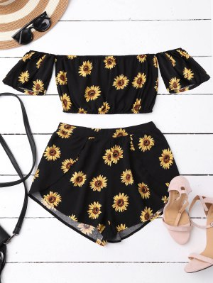 Off Shoulder Crop Top And Sunflower Shorts - Black