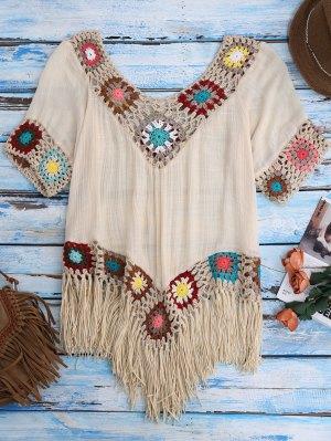 Crochet Beach Cover-Up Tunic - Beige