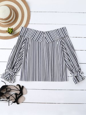Choker Off Shoulder Striped Blouse - Stripe