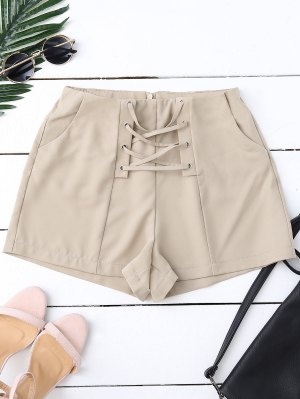 High Waist Lace Up Shorts - Pale Pinkish Grey