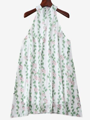 Mandarin Collar Plant Print Sleeveless Dress - Green