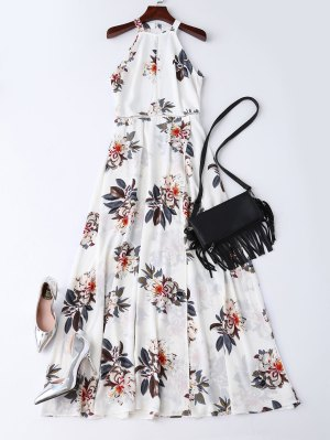 Bohemian Floral Open Back Maxi Dress - White