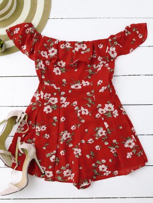 Off Shoulder Floral Skirted Romper - Red
