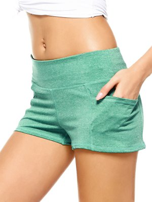 Heathered Sports Shorts With Pockets - Green