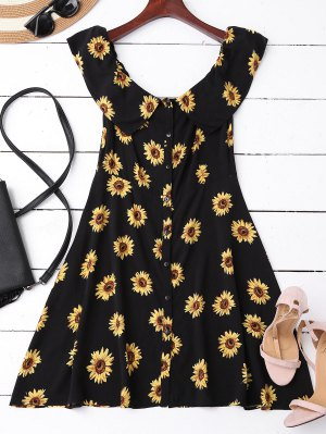 Off Shoulder Button Up Sunflower Dress - Black