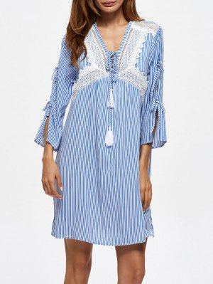 Striped Lace Up Casual Dress - Blue