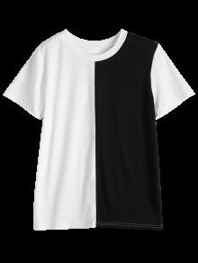 Deux tons à manches courtes T-shirt - Noir S
