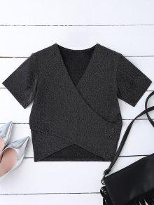 Golden Thread Wrap Front Crop Top - Black S