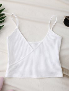 Ribbed Surplice Cropped Cami Tank Top