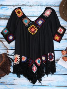Crochet Beach Cover-Up Tunic - Black