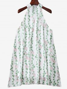 Mandarin Collar Plant Print Sleeveless Dress