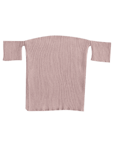 Fitted Off Shoulder Ribbed Knitwear - Nude Pink M