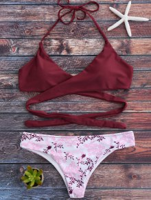 Tiny Floral Halter Wrap Bikini Set - Red M