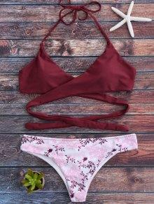 Petit Floral Halter Wrap Bikini - Rouge