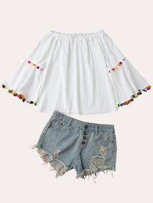 Off Shoulder Flare Sleeve Pompon Linen Top - White S