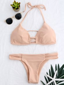 Banded Ladder Cut Out Bathing Suit - Pinkbeige M