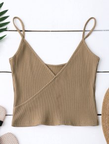 Ribbed Surplice Cropped Cami Tank Top - Khaki