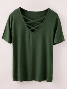 Strappy T-Shirt - Army Green M