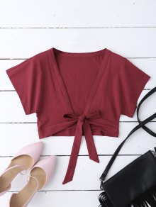 Knot Hem Open Front Cropped Top - Wine Red
