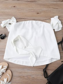 Off Shoulder Choker Tie Sleeve Blouse