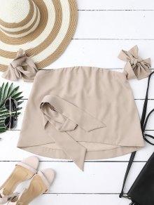 Buy Shoulder Choker Tie Sleeve Blouse - NUDE S