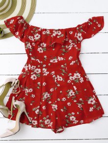 Off Shoulder Floral Skirted Romper