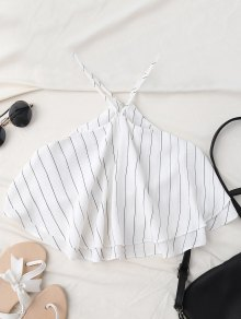 Halter Striped Crop Chiffon Top - White S