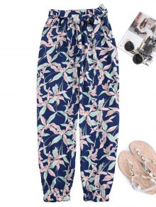 Floral Print Tapered Pants With Tie Belt