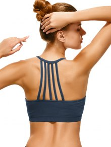 Push Up Strappy Back Sports Bra - Cadetblue