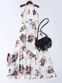 فستان بوهيمي زهري مفتوحة الظهر ماكسي - أبيض M