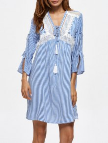 Striped Lace Up Casual Dress