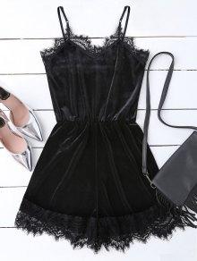Slip Lace Hem Velvet Romper - Black S