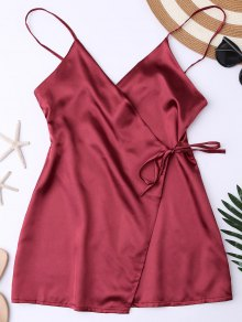 Cami Wrap Slip Dress - Wine Red S