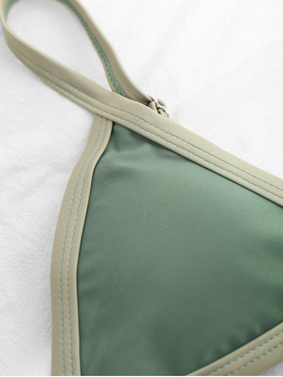 Two Tone Padded Bikini Set - PEA GREEN M Mobile