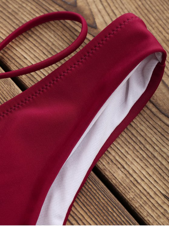 Low Waisted Halter Wrap Bikini Set - BURGUNDY S Mobile