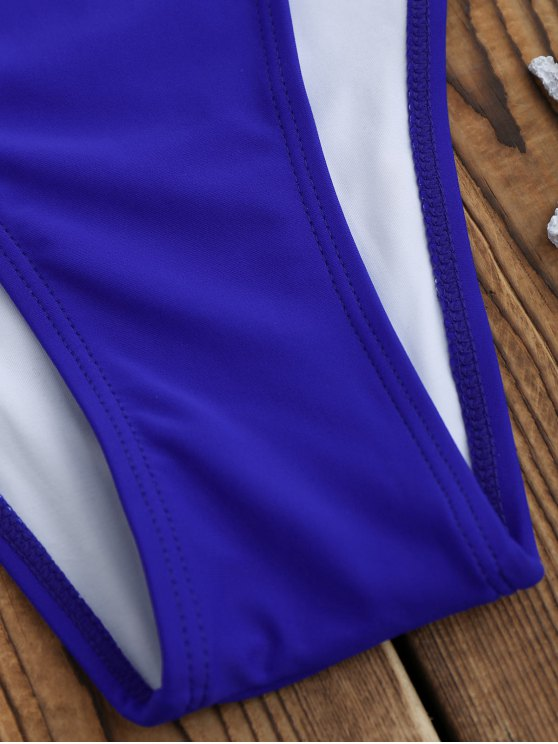 Backless High Cut One Piece Swimsuit - SAPPHIRE BLUE M Mobile