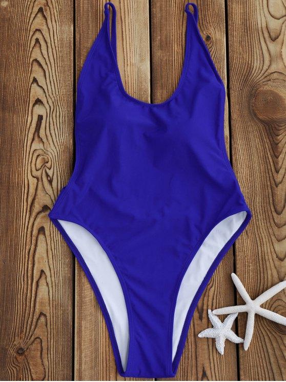 best Backless High Cut One Piece Swimsuit - SAPPHIRE BLUE S