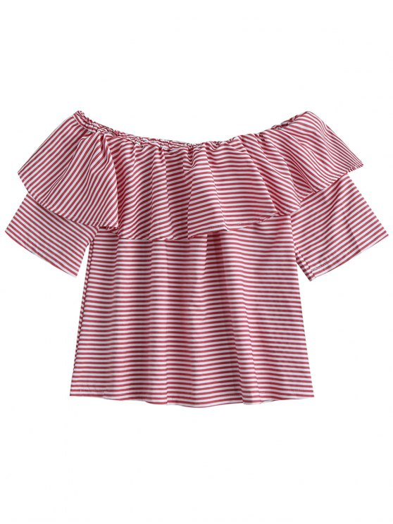 affordable Off Shoulder Ruffle Striped Top - LIGHT PINK XL