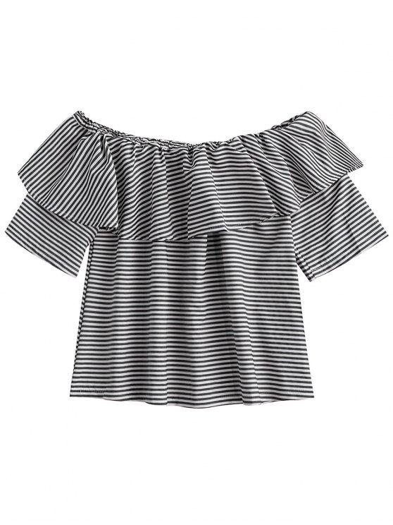 women's Off Shoulder Ruffle Striped Top - BLACK XL