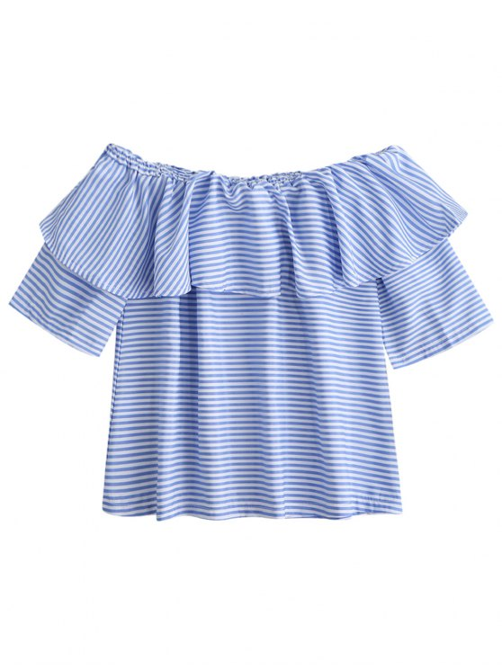 lady Off Shoulder Ruffle Striped Top - BLUE M